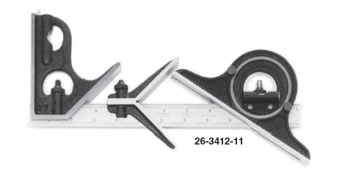 Group 1 Hardened Steel Square Head, Center Head, and Blade with Reversible Protractor